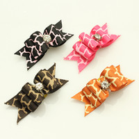 Wholesale Handmade Accessories For Pets Rhinestone Retro Stripes Ribbon Hair Bow Dog Grooming Products