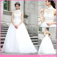 Wholesale Romantic Halter Wedding Dress Gowns Beaded A line Ivory Lace Top Floor Length Bridal Dresses
