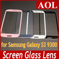Wholesale Front Glass Lens Glass Digitizer Cover no touch for Samsung Galaxy S3 i9300 Outer Screen Cover Replacement White Black Pebble blue Gray Pink