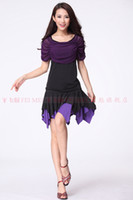 Latin Sequin Chiffon Latin dance dress Square dancing women wear sets costume suit top shirt + layer yarn color skirt (with safety pants)