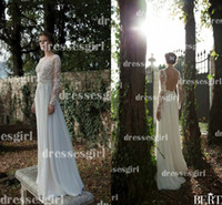 A-Line Reference Images Jewel 2014 Sexy A Line Wedding Dresses Berta Bridal Jewel Neck Illusion Sheer Long Sleeve Lace Chiffon Backless Garden Winter Formal Gowns BO3919