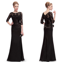 Wholesale New Elegant Long Sleeve Lace Women s Long Black Evening Dresses Formal Celebrity Dresses