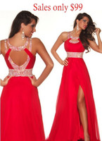 Real Photos Halter Chiffon 50% OFF Cheap Long Floor Length Red Chiffon Crystal Beads Front Side-slit Evening Prom Dresses under $100 A-line Empire Bridesmaid Dresses