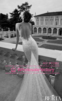 Trumpet/Mermaid Reference Images Spaghetti 2014 Backless Wedding Dresses Vestido de Noiva Berta Bridal Spaghetti Appliques Lace Mermaid Cathedral Train Church Wedding Gowns BO4140