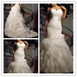 Wholesale 2014 New Custom Plus Size Sexy Sweetheart Strapless Beautifully Organza Mermaid Wedding Dress Bridal Gown