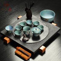 other   Black stone tea tray ring coarse pottery purple ceramic kung fu tea set airland