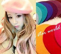 Wholesale Hot Women Beret Fashion Ladies Hats Trendy Wool Bounet Caps Many color Painter Hat