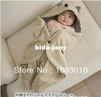 Wholesale New Cute Comfortable Children Baby sleeping bag infant blankets quilt toddler sleeping sack baby swaddling wrap Hat Beige cloth