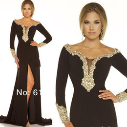 Wholesale 2014 Designer Sexy Black Chiffon Scoop Front Split Crystal Beads Long Sleeves Evening Gowns Prom Party Dresses Off Shoulder Zipper Dress