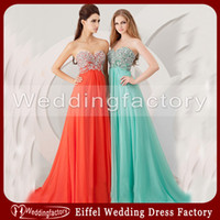 Reference Images Sweetheart Chiffon 2014 Gorgeous Coral Aqua Prom Dress Angela Alison A-line Sweetheart Sleeveless Chiffon Evening Gown with Crystals and Beads
