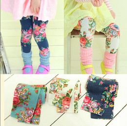 Wholesale Spring Autumn New Arrival Children Leggings Colour Floral Girl Leggings Kid s Tights Pants White Blue Green