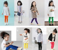 Wholesale 2014 Spring New Style Children Pants Lycra Best Quality Pure Cotton Candy Colour Girl Leggings Kid s Tights Pants Random Mix