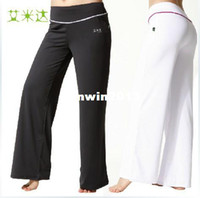 Wholesale D amp T Shop Hot All match Women s Yoga Pants Sports Pants Fitness Pants Polyester Size S XL White amp Dark Gray