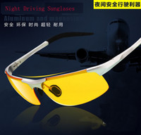 Wholesale New brand Men Aluminum magnes Fatigue Anti glare Night Vision Goggles HD sunglasses Driving polarized Driver sunglasses cheap glasses YJ071