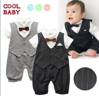 Wholesale Cute Casual Stripe Gentleman Waistcoat Boys Modelling Romper Baby Dress Romper Toddler M Jumpsuits Infant One Piece Clothing