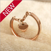 Wholesale New Fashion K Real Rose Gold Plating Heart Band Rings L Titanium Stainless Steel Rings High Quality