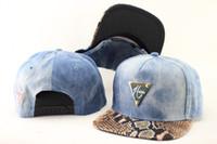 washed denim snakeskin Hater Snapback Hats Adjustable Hats S...