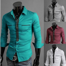 Wholesale fashion Men s thin body Cultivate one s morality type Lapel color matching double pocket design Men s casual shirts color choose