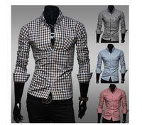 mens clothing - 2014 new Gingham Long Sleeve Shirt mens clothing mens shirts mens clothing color