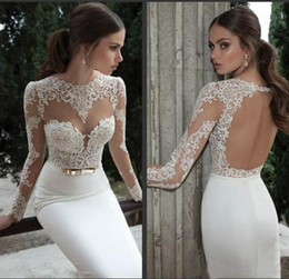Wholesale Berta Bridal Lace Bodice High Collar With Sheer Long Sleeves Mermaid Illusion Wedding Bridal Dress Floor Length Long Backless Dresses