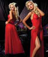 Woman businesscn - Red Plus Size XS S M L XL Sexy Lingerie Nightgown Gown Long Lace Babydoll Chemise Nightdress Nightie Underwear Sleepwear