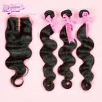 Wholesale 1 Piece Middle Part Lace Closure Bleached knots with Hair Bundle Brazilian Virgin Hair Body Wave
