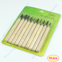 Assembly Tools D3756  Free Shipping 10pcs set Wood Handle Carving Mini Chisels Tool Kit Carpenters DIY Handy Tools
