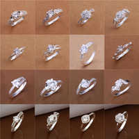 Wholesale 24pcs Mixed Order Fashion Trendy CZ Zirconia Bijoux Sterling Silver Plated Wedding Rings FR137