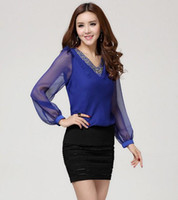 Wholesale 2014 Spring new women s clothing Fashion v neck blouse long sleeve georgette chiffon Tops