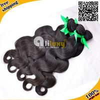 Human Hair Hair Extension Yes Brazilian virgin hair body wave free shipping 3pcs lot , color1b#, tangle free , Queen virgin huam hair extension