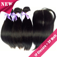 Wholesale 6A Eurasian Virgin Straight Human Hair middle free part Lace Top Closure with Hair Bundle quot quot