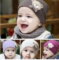 cotton beanies - Korean Children Hats Cute Bear Baby Polka Dots Caps Kids Hats Cotton Beanie Infant Children Hats Beanies Knitted Hats Crochet Hat B2857