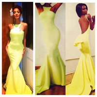 nicole scherzinger - 2014 Michael Costello Mermaid Prom Dresses Nicole Scherzinger Bright Yellow Backless Evening Dresses Peplum Celebrity Red Carpet Dress Cheap