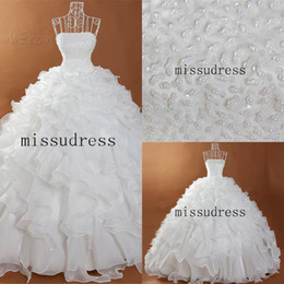 2014 Hot Real Image Strapless Beads Embellished Lace-up Ball Gown Wedding Dress Cascading Ruffles Orgaza Bridal Gown Free Shipping