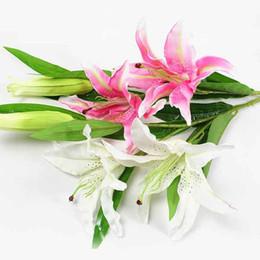 Nueva hermosa rosa blanca Lilium casas blancas flores de seda de flores de bodas decoración artificial # K0457