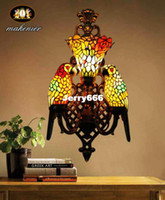 Wholesale Details about Tiffany Style Stained Glass Hand Made Retro Double Parrots Lamp Wall Lamp Scones