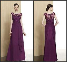 2014 grape chiffon lace bateau new design mother of the bride dresses sleeveless A-line floor length ruffle zipper sequins beads cheap