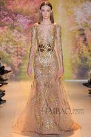 Model Pictures V-Neck Organza Luxury 2014 Sheer Evening Gowns Applique Bead Sequins Sheath V Neck Long Sleeves Floor Length Formal Prom Celebrity Zuhair Murad Dresses