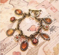 Charm Bracelets Women's Fashion Wholesale Fashion costume Jewelry Euro style Big diamond gemstone water-drop Bracelet flower multi pendants charm Bracelet RJ029