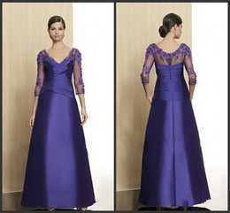 2014 fabric royal blue satin A-line floor length mother of the bride dresses v-neck 3 4 long sleeve applique ruffle lace beads zipper