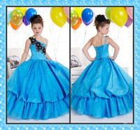 Wholesale Blue Bubble Girl s Pageant Dress Ball Gown One Shoulder Applique Flower Girl Dresses