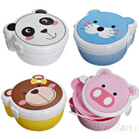 Wholesale Kid Children Cartoon Two Layer Plastic Lunch Meal Bento Box Dinner Case Set Spoon Microwaveable for School Home Use Cat Pig