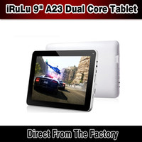 Wholesale 9 quot Android Dual Core A23 Tablet PC RAM MB GB Dual Web Camera Capacitive Screen WiFi inch iRuLu ePad Tablet With Free Stylus Pen