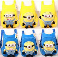 Unisex minions - fashion cute despicable me toddler baby boys girls backpack children pp plush minions toy school bag kids backpacks good quality QZ359