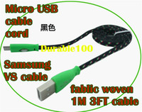 For Samsung   Fablic woven cable micro USB Fabric braid wire USB Data Sync cloth Woven Fiber Knitted 1M 3ft Nylon Cord 1pc up.