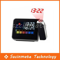 Digital Alarm Clocks  Free Shipping Digital LCD LED Projector Alarm Clock Weather Station 50pcs lot Wholesale
