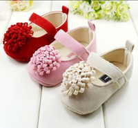 Wholesale Brand Toddler Baby s Girl Shoes Buckle Strap Flower Baby First Walker Shoes Year flower Infatn prewalker pair QS121