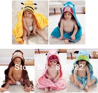 Wholesale Children s Cartoon Baby Hooded Bath Towel Bathrobe Cotton Terry Infant Kids Bathing Wrap Robe Toddler sized