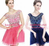 Wholesale Cheap Short Prom Dresses Lace Sheer Illusion Jewel Neck Beads Sequins Cap Sleeves Backless Cocktail Party Dresses Celebrity Dresses SH2814