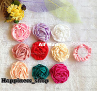 Headbands Headwear Children Hair accessories, Wholesale DIY 100% handmade beauty rose Satin puff flowers,Hair flowers WITHOUT clip Flat Back Free Shipping!